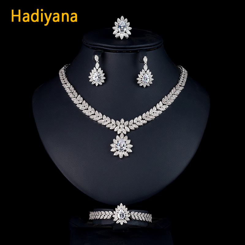Hadiyana Water Drop White Zircon CZ 4pc sets Necklace Earring Ring And Bracelet Wedding Jewelry Set For Women Bridal Party CN201 a suit of chic faux ruby water drop necklace ring bracelet and earrings for women