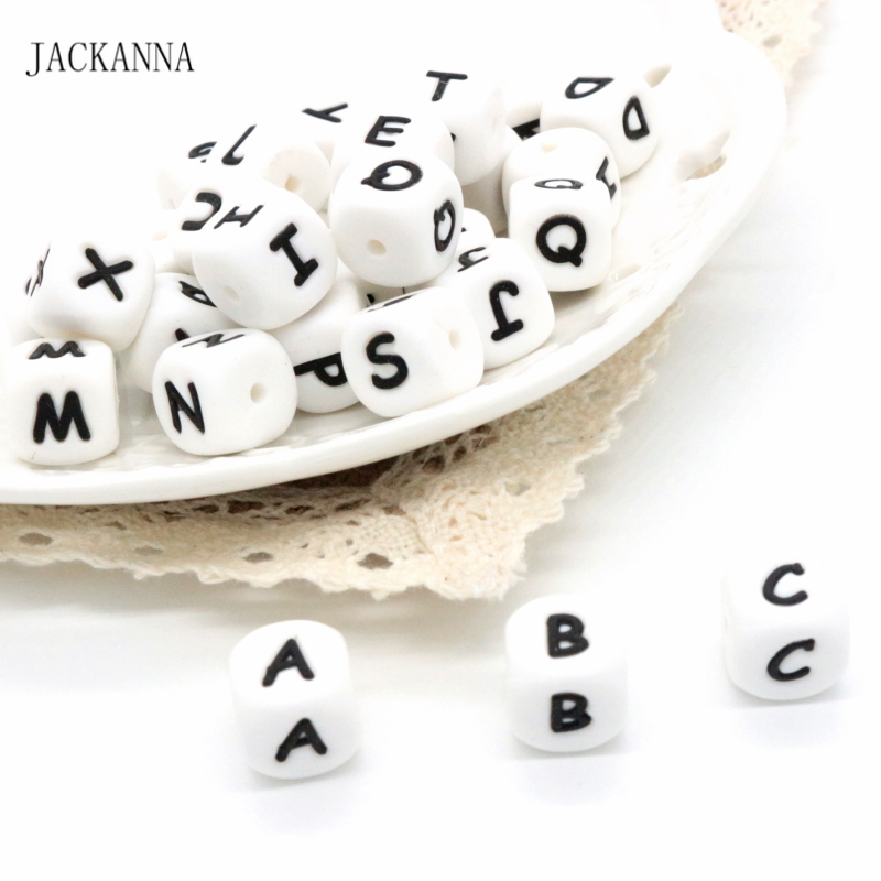 100PCS 12MM Alphabet Letter Food Grade Silicone Letter Beads For Teething Necklace In 26 Letters BPA Free Silicone Teether Beads