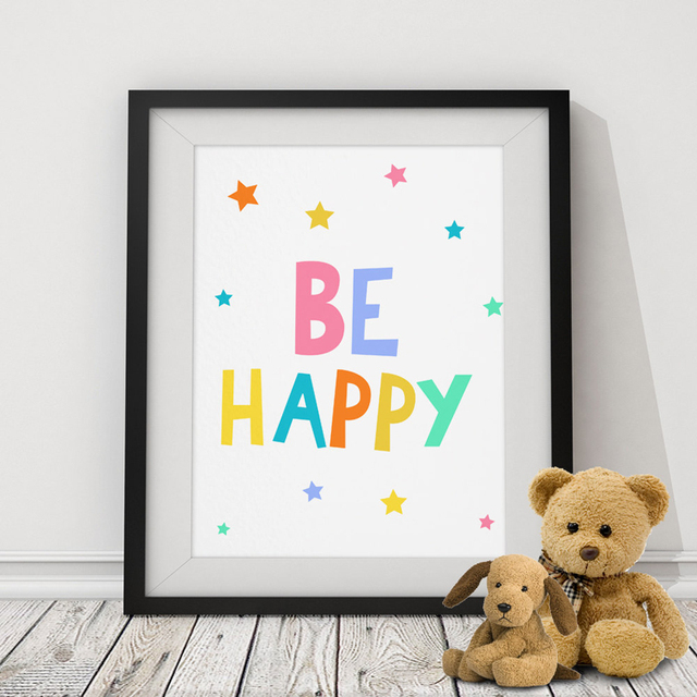Clic Be Hy Quote Stars Canvas Painting Nursery Posters Print Art Oil Wall Pictures For Kids