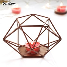 OurWarm Rustic Wedding Candle Holders Vintage Metal Brown Holder Party Table Decoration Favors Centerpieces
