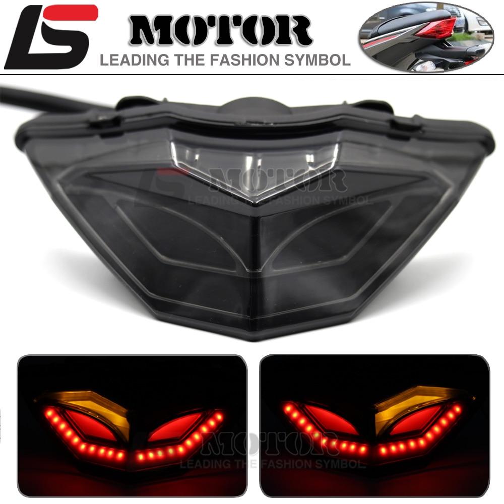 ФОТО For KAWASAKI NINJA 250/300 Z250 2013-2016 14 15 Motorcycle Integrated LED Tail Light Brake Turn signal Blinker Lamp Smoke