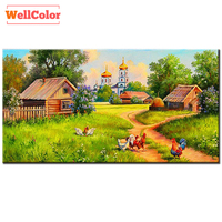 WELLCOLOR Landscapes Cocks Houses Diamond Embroidery DIY 5D Full Patterns Rhinestone Diamond Mosaic 3d Mazayka Painting