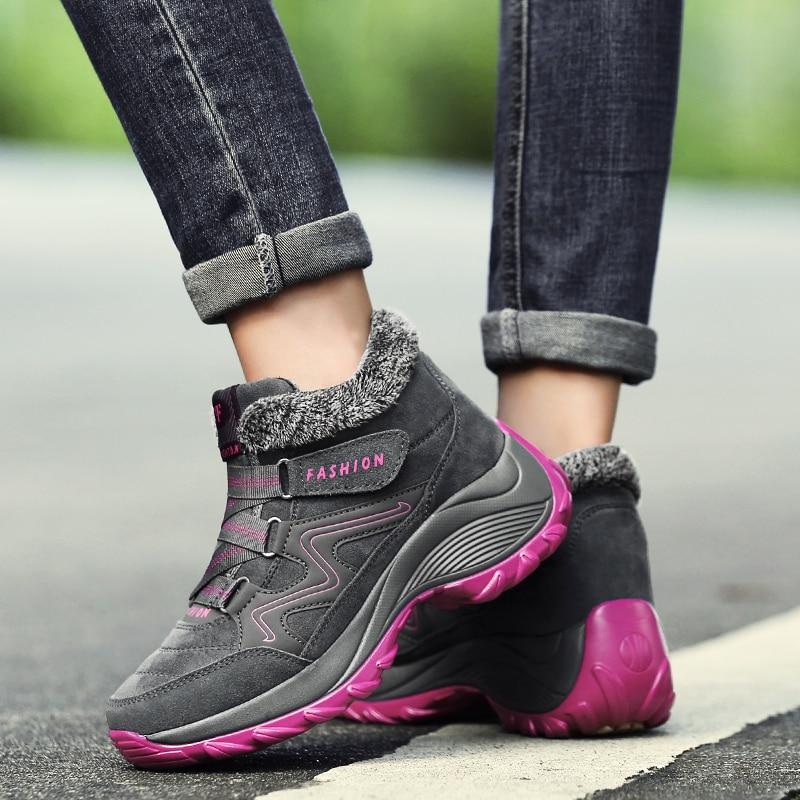 Black 41 Purple Fur De 039 Red El Botas Tamaño Fur Más Tobillo Y Invierno Mujeres Piel Zapatos Bucle Gray 039 2018 Para Las Gancho Nieve Mujer Casual Antideslizantes HfFw1