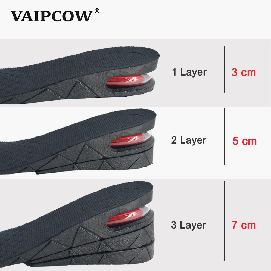 3 7cm Height Increase Insole Cushion Height Lift Adjustable Cut Shoe Heel Insert Taller Support Absorbant