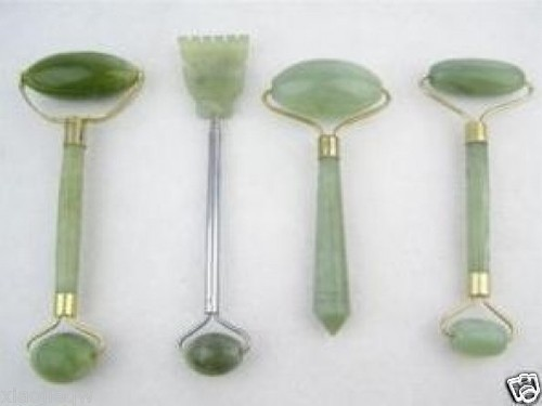 2013 China 4PC Green Jade Massage Head Neck Face Foot Roller Tool