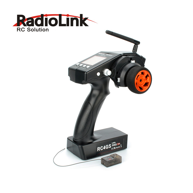 RadioLink 4 Channel RC4GS/RC4G 2.4G 4CH Gun Controller Transmitter + R6FG Gyro Inside Receiver for RC Car Boat Rx 1pc radiolink rc3s 4ch 2 4g digital radio control system gun transmitter r4eh receiver lcd programable for rc car boat wholesale