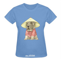 Gildan RTTMALL High Quality Basic Cotton Tee Blusa Short Sleeve Shar Pei Woman Camiseta T Shirt
