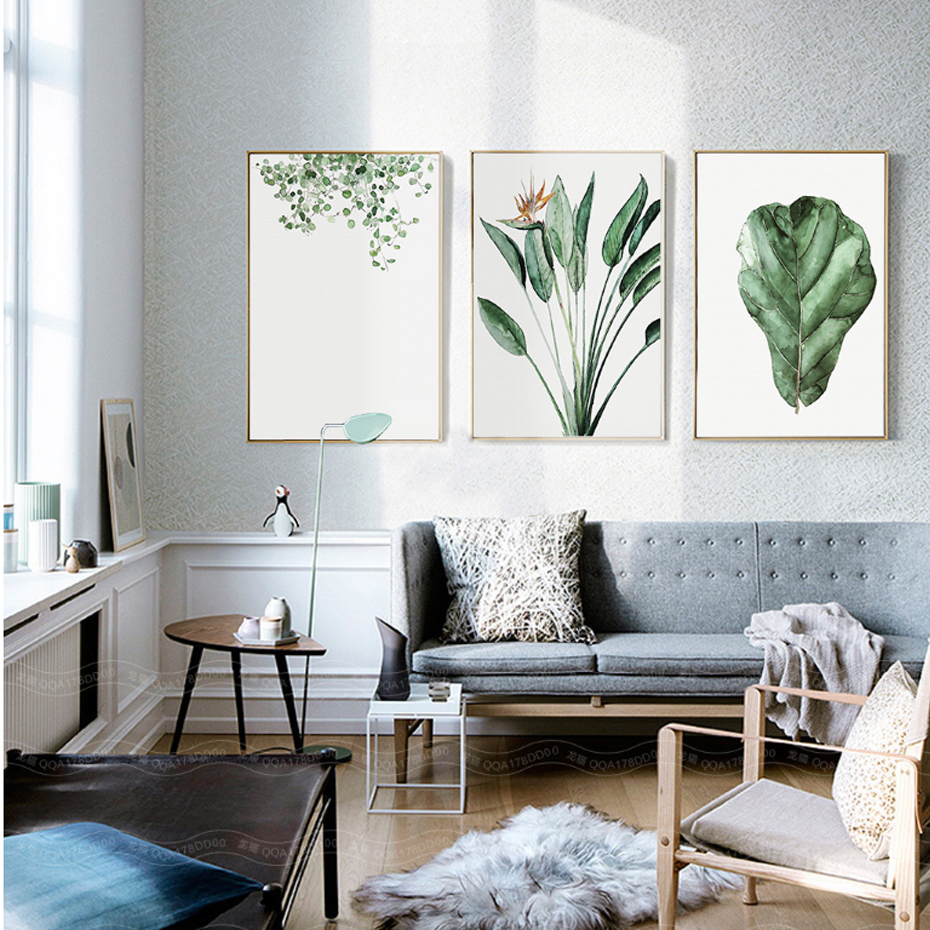 Watercolor Green Plants Leaves Canvas Paintings Nordic Scandinavian Office  Wall Art Poster Picture For Living Room Home Decor In Painting U0026  Calligraphy From ...