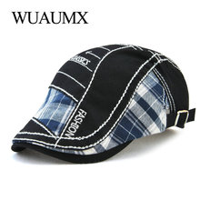 Wuaumx Unisex Beret Hats For Men Womens Berets Cotton Leisure Flat Cap Hip Hop Locking Hat Visor Fitted casquette homme