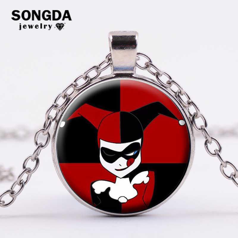 SONGDA samobójstwo drużyny naszyjnik film biżuteria Clown Joker Harley Quinn szkło Cabochon naszyjniki wisiorki fani anime choker łańcuszek