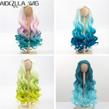 1/4 1/3 BJD/SD Doll Wig Hair High Temperature Fiber Long Wave White Pink Blue Green Ombre Color Wigs for BJD/SD Dolls new pink blue long skirt dress western style clothes 1 3 1 4 bjd sd msd doll clothes