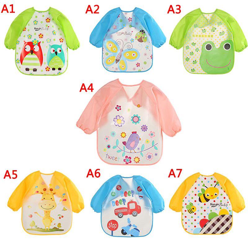 New Baby Waterproof Overalls Cute Cartoon Animals Baby Bibs Long Sleeve Apron Beat Smooth Feeding Children Bib Burp Clothing A