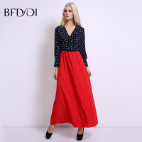 BFDADI Women 2017 Dot Stitch Deep V Neck Long Sleeve Maxi Dress Women S Summer Beach