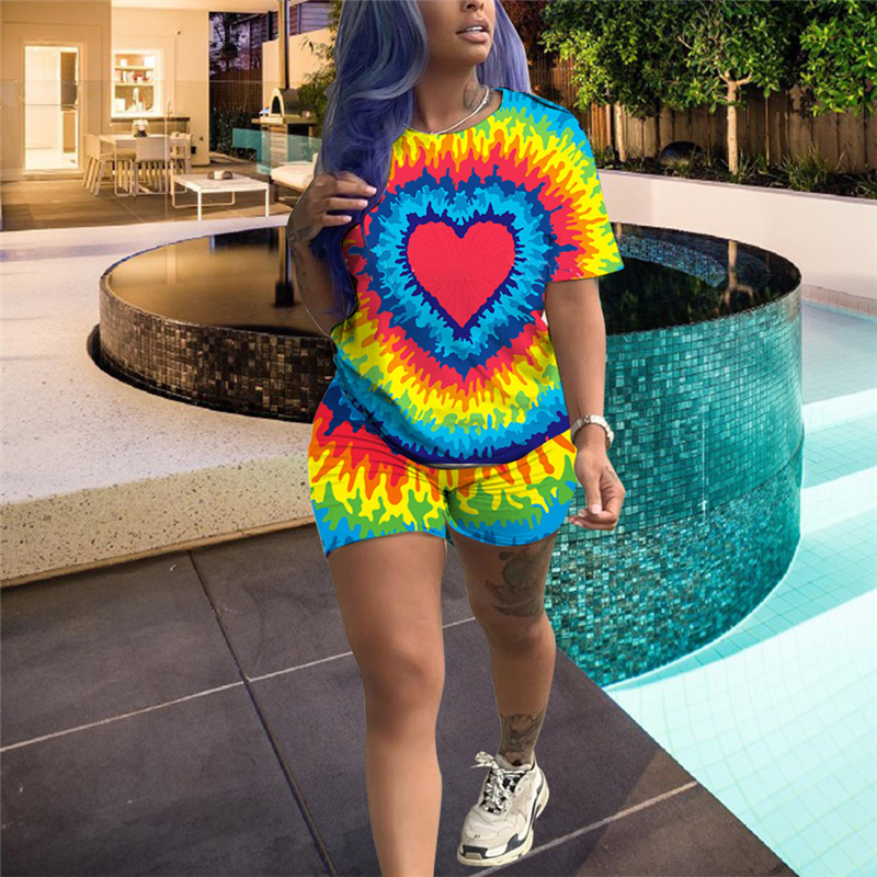 Adogirl Love Heart Tie Dye Print Two Piece Set Women Tracksuit O Neck Short Sleeve T Shirt Top + Shorts Casual Suits S-2XL