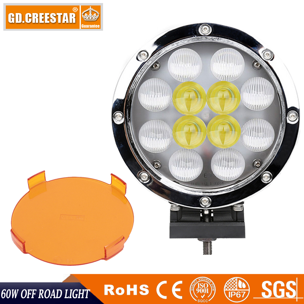 GDCREESTAR LED Work Light 7 inch Round Chrome 60W offroad 4x4 Led Spot Flood Driving Light for SUV Truck Boat Tractor lights x1 1pc 18w led work light for motorcycle driving boat car tractor truck suv 6 inch flood lights