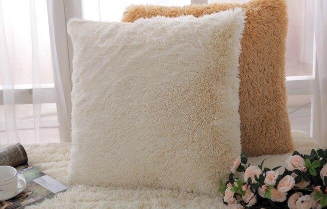 Solid Super Softer Plush Home Decor Cushion Cover Faux Fur Pillow Beauteous Faux Sheepskin Pillow Cover