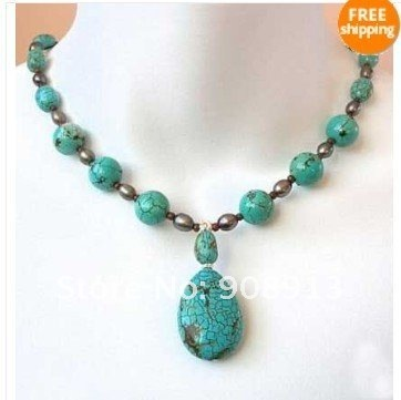 REAL TURQUOISE & PEARL NECKLACE