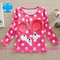 Bandeiras marca 2015 novo garoto t - rendas camisa do bebê meninas roupa infantil dos desenhos animados imprimir camiseta roupas criança de manga comprida desgaste superior G649 #