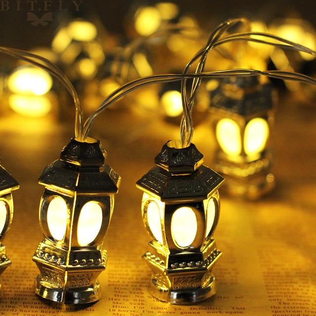165cm 10Led Islamic Eid Ramadan Light String Muslim Lantern Fairy Lights For Temple Home Golden Garland Festival Party Supply