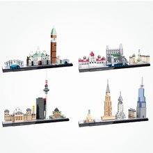 Модульное здание с видом на город и улицы Венеция, Дубай, Париж, Нью-Йорк, архитектурные блоки, рождественские подарки