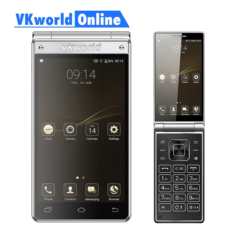 Vkworld T2 Plus Flip Mobile Phone Dual Screen 4.2 HD IPS MTK6737 Quad Core RAM 3GB ROM 32GB Dual Sim 2018 Android Smartphone