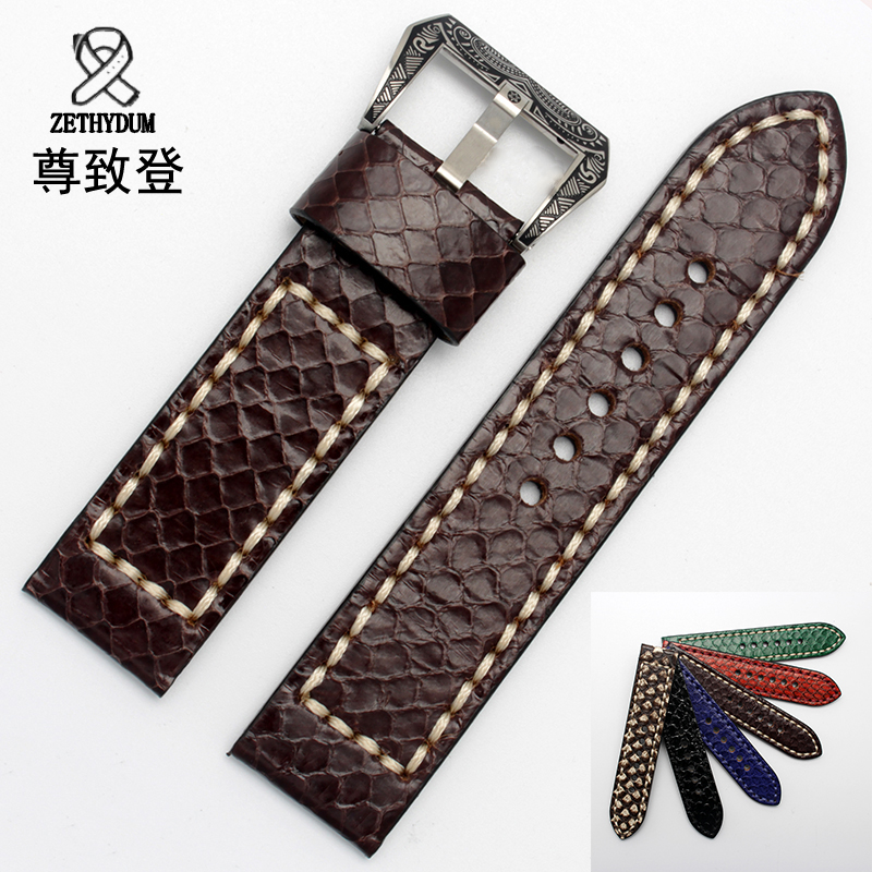 New python leather watchband 22mm 24mm 26mm black red green bracelet thickening strap for PAM111 lukeni 24mm camo gray green blue yellow silicone rubber strap for panerai pam pam111 watchband bracelet can with or without logo