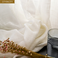 CITYINCITY American Country Rural Style Voile Block Colour Tulle White Soft Sheer Curtains For Bedroom Living