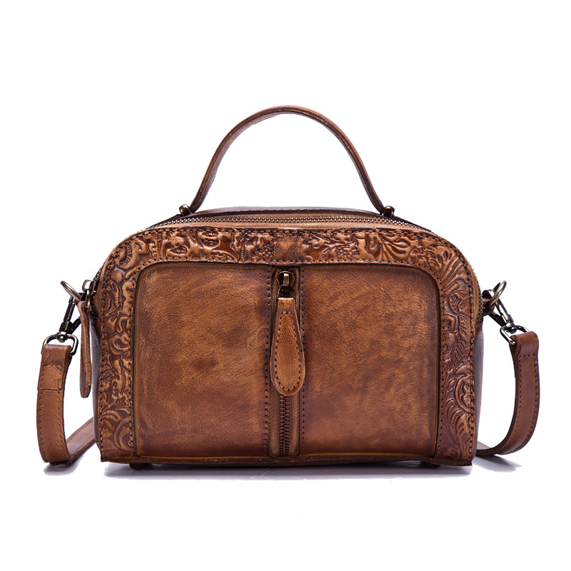 Embossed Shoulder Messenger Crossbody Bag Tote Handbag Retro Vine Brush Color Genuine Leather Women Cowhide Top