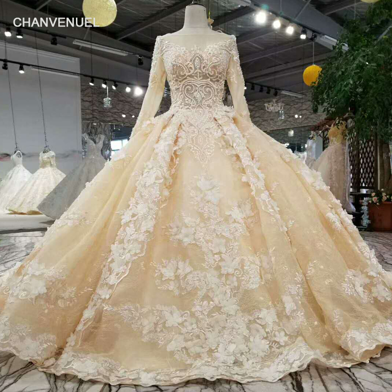 LS12585-2 newest champagne party dress long sleeve tulle zipper back puffy  dress for wedding party 2018 china online wholesale ac3c812ced5e