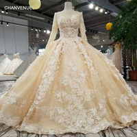 LS12585 2 newest champagne party dress long sleeve tulle zipper back puffy dress for wedding party 2018 china online wholesale