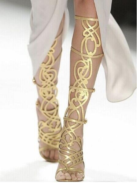 Gladiateur Genou Or Femmes Cuir Pour Boucle As Sandales Métallique Bottes Cut Peep Haute Sexy En out Talon Toe Chaussures Picture rdCBxoe