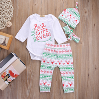 4PCS Baby Boy Girl Christmas Gift Outfits Romper Deer Pants Legging Clothes Set
