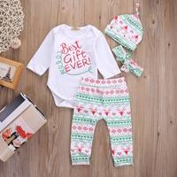 4PCS Baby Boy Girl Christmas Gift Outfits Romper Deer Pants Legging Clothes Set