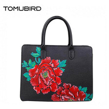 TOMUBIRD superior cowhide leather luxury Hand painted flowers handbags designer  women bags tote handbags genuine leather bag tomubird 2017 new superior leather retro embossed designer famous brand women bag genuine leather tote handbags shoulder bag