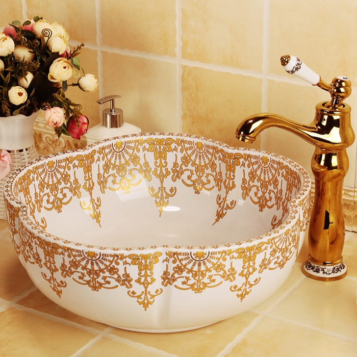 Free shipping european style flower shape gold decoration ceramic porcelain bathroom sinks stately gold silver color art porcelain ceramic bathroom sinks