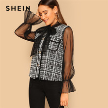 9eee94dff58 SHEIN Schwarz und Weiß Krawatte Neck Mesh Glocke Hülse Tweed Mantel Mode  Plaid Mantel Frühling Arbeitskleidung High Street Fraue.