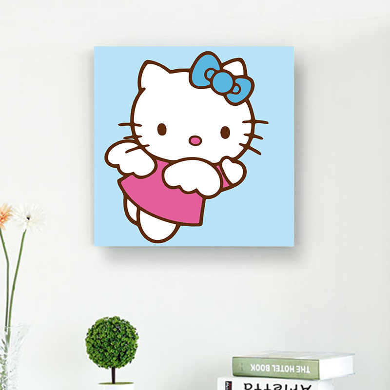 f3eb7dc6b ... DONGLANG Many HELLO KITTY Oil Painting By Numbers Framed Digital Oil On  Canvas Coloring By Numbers ...