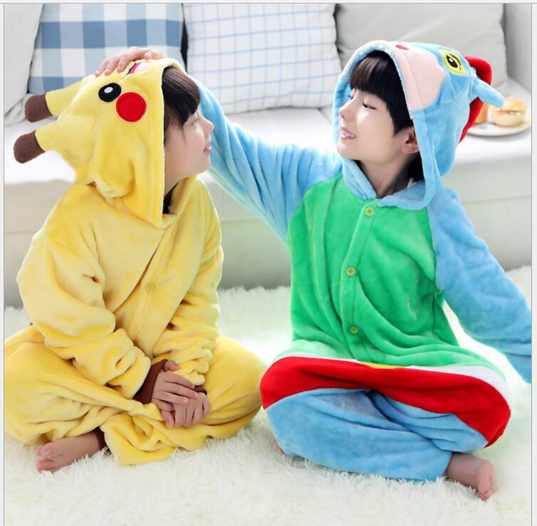 Hot Children pokemon pikachu costume halloween costume,2018 winter Kids Flannel Animal Pajamas Onesie Girls Boys Warm Soft Sleep