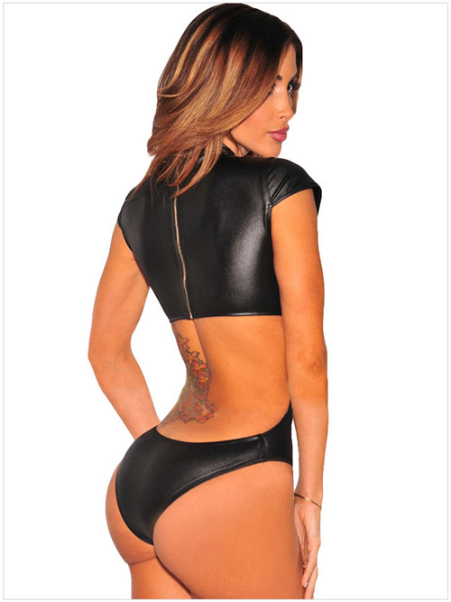 Buy High Quality Sexy Black Bodycon Backless Catsuit Vinyl Wetlook Bodysuit Erotic Leather Latex Teddy PVC Faux Leather Leotard