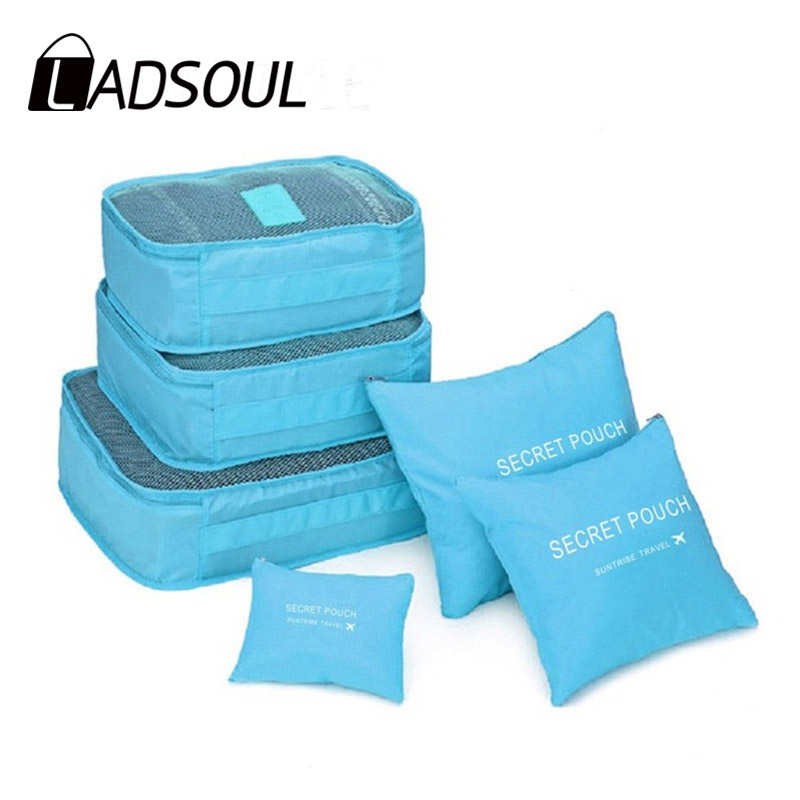 LADSOUL 6PCS/Set 2019 New Arrival Luggage Packing Organizer Set Travel Mesh Bag Organizer Cosmetic Bag Clothing Organiser