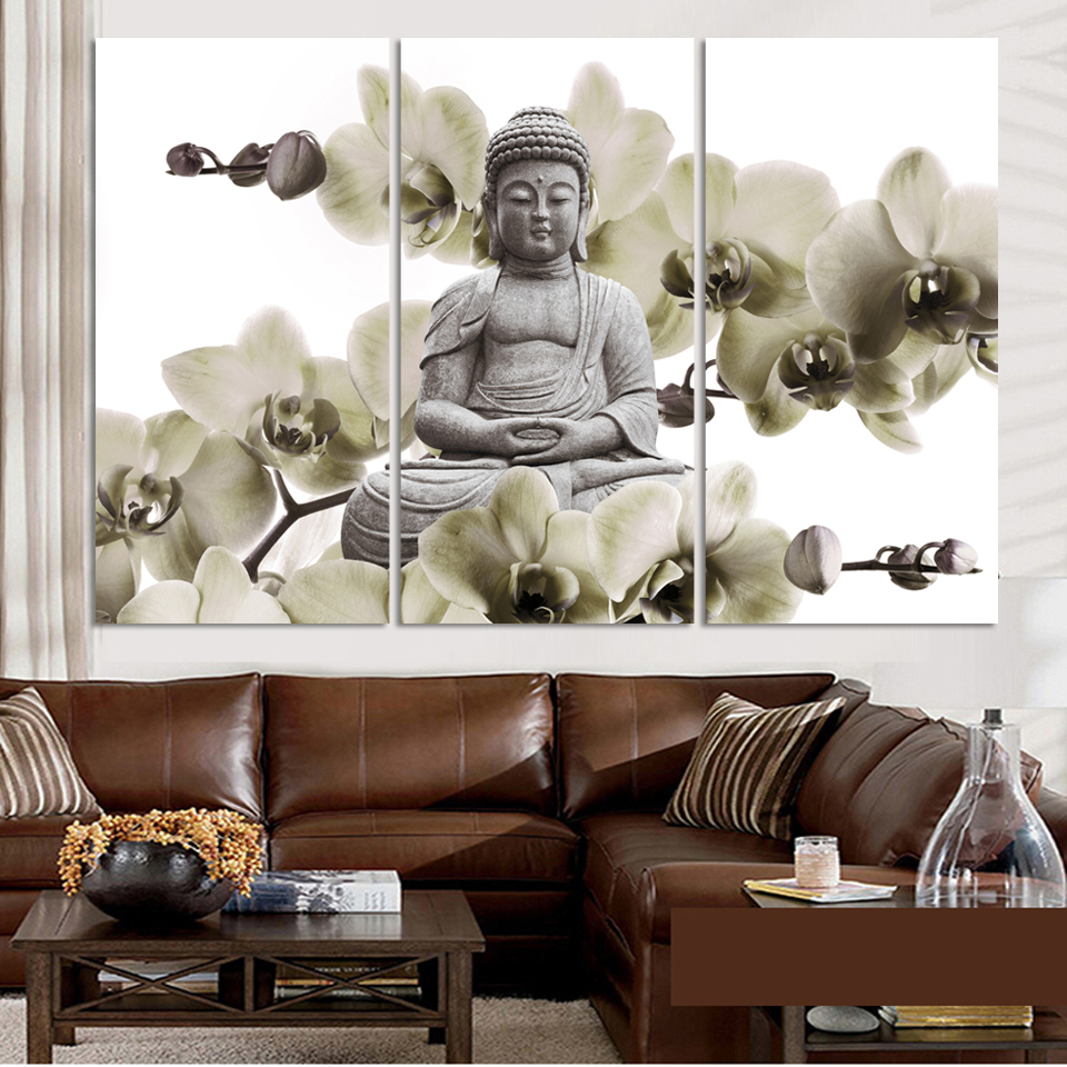 hd buddha canvas prints modern 3 panels unframed painting by numbers home decoration living room. Black Bedroom Furniture Sets. Home Design Ideas