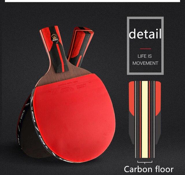 למעלה פחמן באיכות שחור להב S6 שולחן טניס מחבט מקצועי עם גומי פינג פונג משוט טניס שולחן מחבט