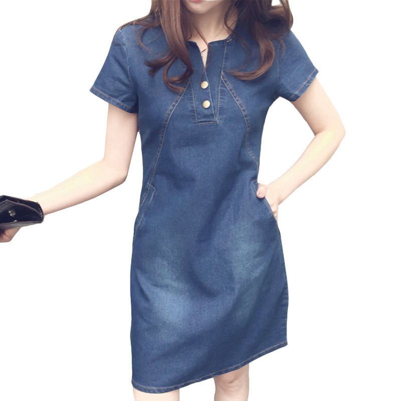 Fashion Denim <font><b>Dress</b></font> For Women 2019 New Summer Korean Casual <font><b>Jeans</b></font> <font><b>Dress</b></font> With Button Pocket <font><b>Sexy</b></font> Denim Mini <font><b>Dress</b></font> Plus Size 5XL image
