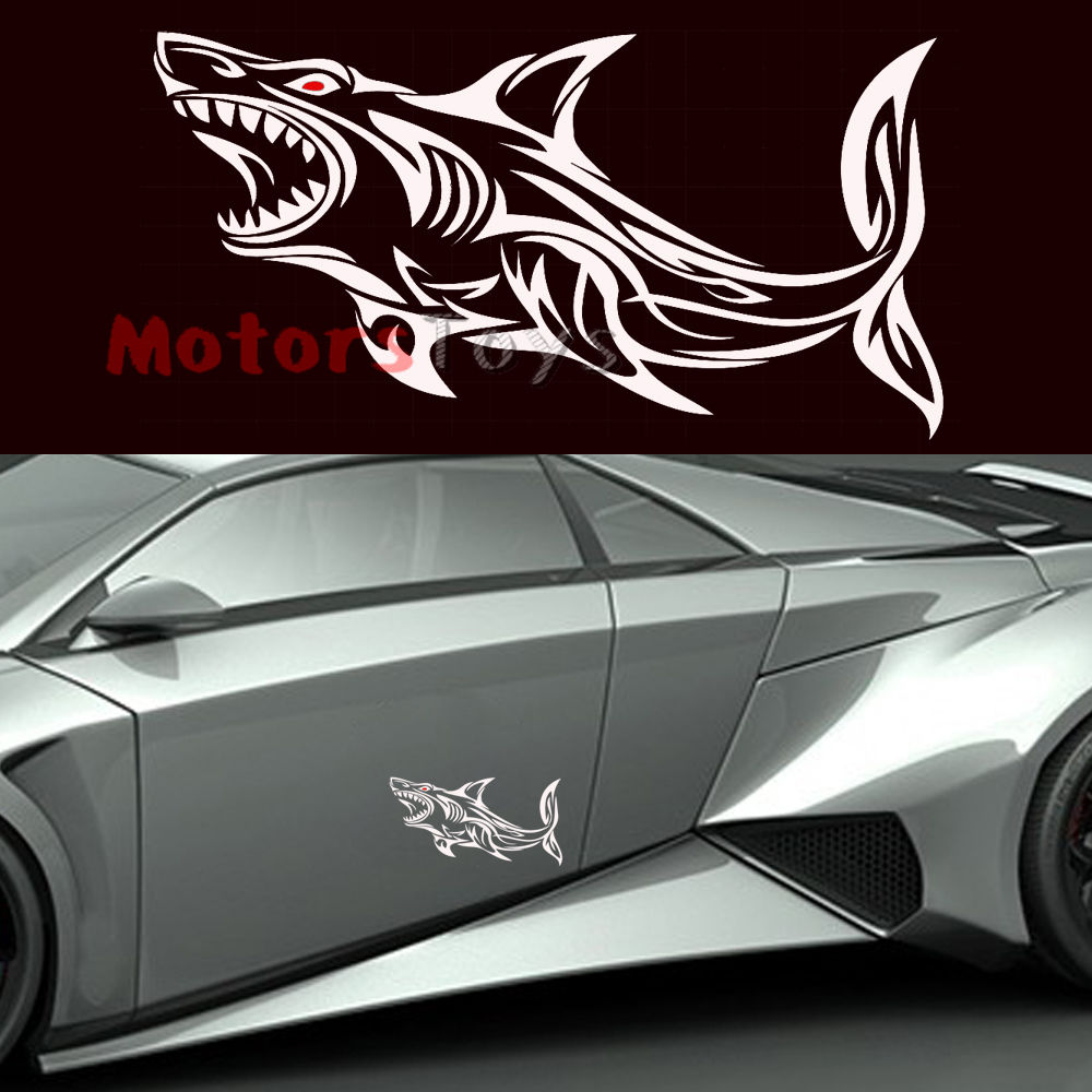 Cool car sticker design - 1pc Super Cool Sticker Open Big Mouth Red Eyes Shark Vinyl Car Sticker Decal China