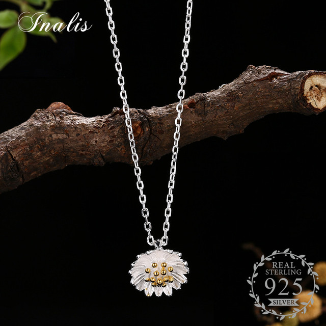 Inalis new fashion 925 sterling silver flower pendant necklace for inalis new fashion 925 sterling silver flower pendant necklace for women daisy statement necklace brincos birthday aloadofball Choice Image