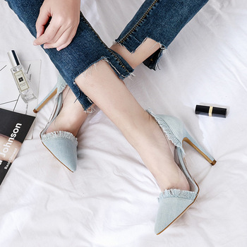 Women Pumps High Heels Sexy Pointed Toe Slip-on Wedding Party Shoes For Lady Fashion Jeans Fabric On Top Dress Summer Shoes sophitina classics wedding lady pumps sexy shallow party slip on thin high heels pumps pointed toe high quality women shoes d56