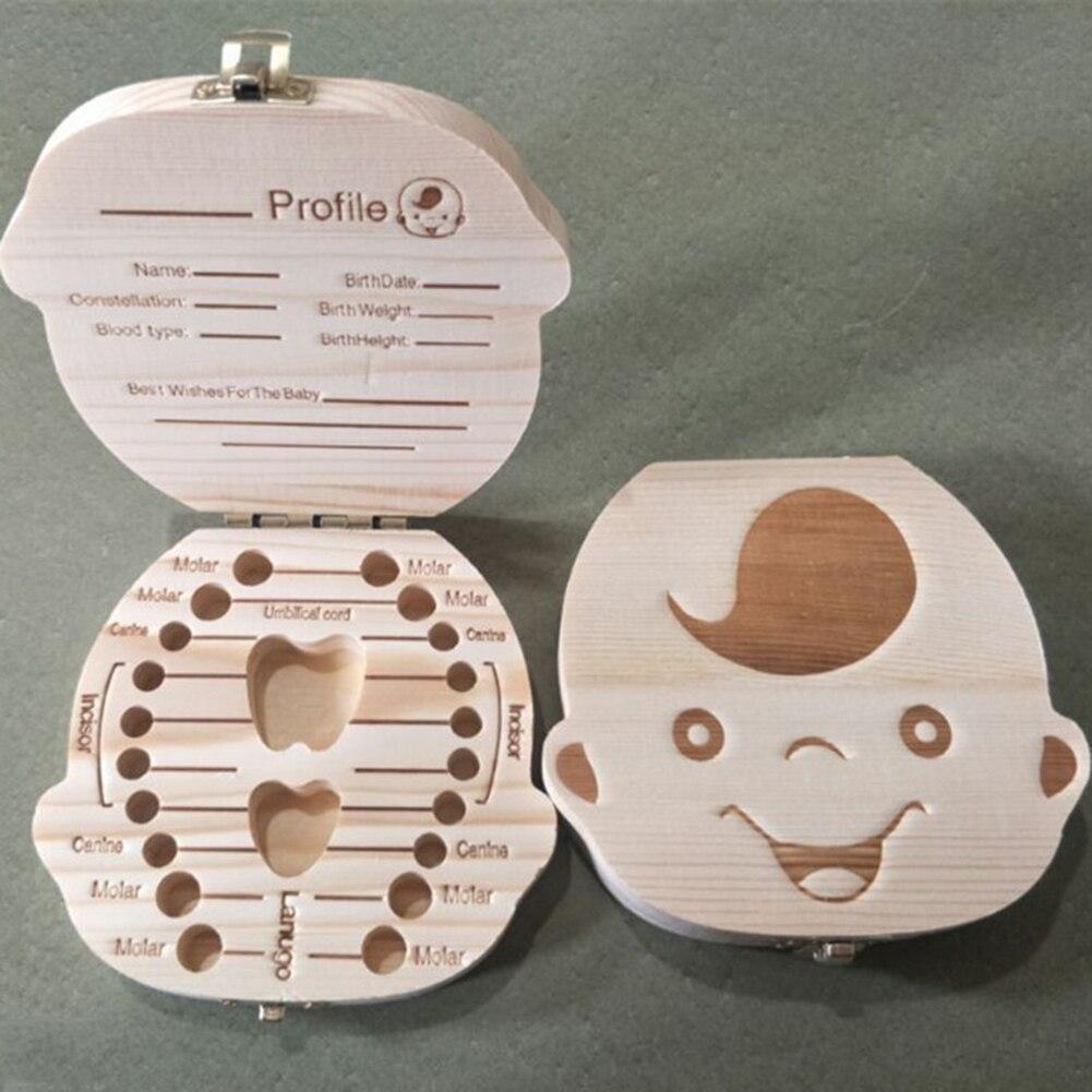 Baby Teeth Wooden Save Box Growth Record Toy Save Organizer Milk Tooth Storage Box Kids Teeth Memory Storage Boxes Organizer