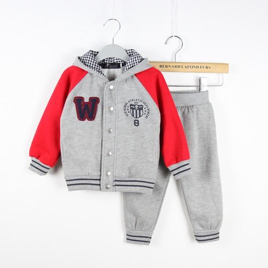 ФОТО New arrival autumn/winter children's clothing set boy sport sweatshirt+pants suit 100% cotton free shipping