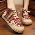 Linen Hemp Round Toe Totem Embroidered Lace-up Cotton Fabric Mid-cut Casual Flats Ethnic Style Women's Slingbacks Fashion Shoe