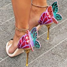 Designer Shoes Women Luxury 2020 Buty Damskie Butterfly Heels Sandals Metallic Leather High Heel Dress Wedding